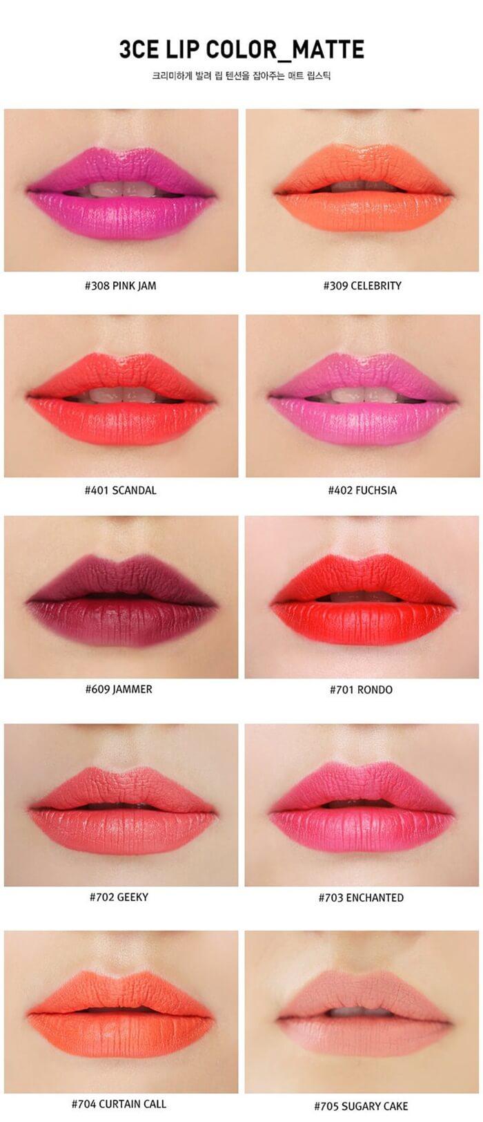 Bảng màu son 3CE Matte Lip Color