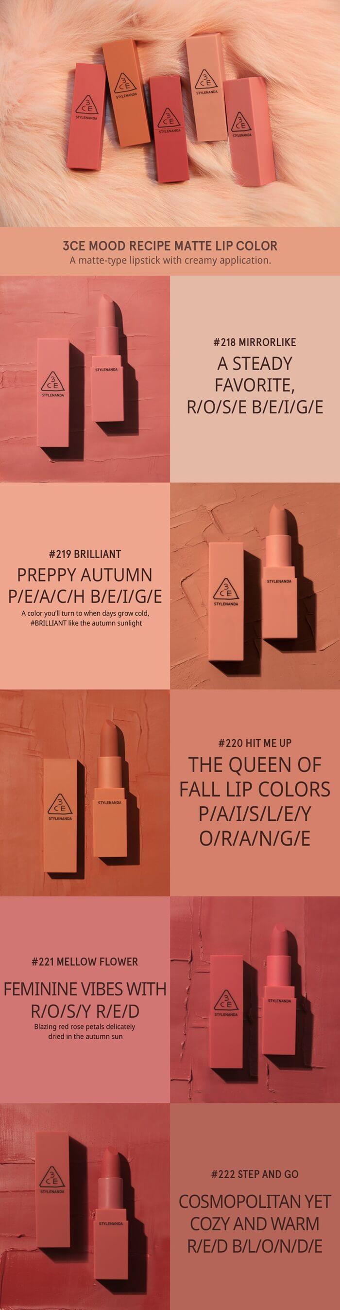 Bảng màu son 3CE Mood Recipe Matte Lip Color