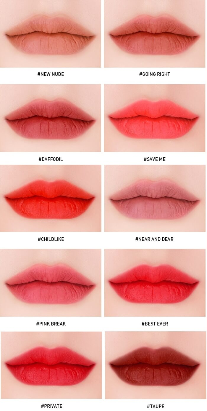 Bảng màu son 3CE Velvet Lip Tint