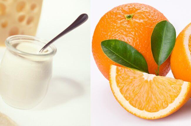 cam, sữa tươi và bột đậu đỏ